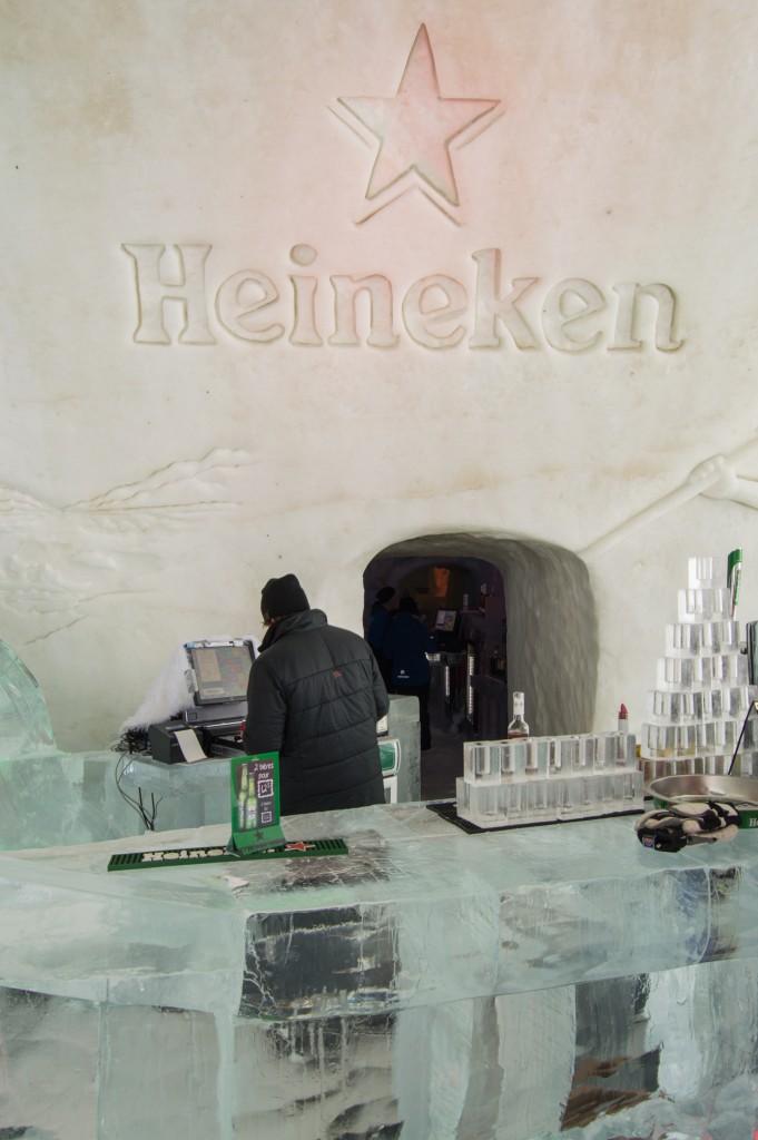 Heineken bar in ice hotel