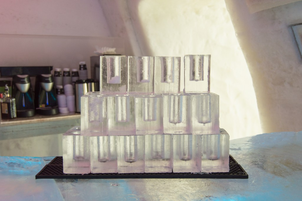 Ice glasses in ice hotel