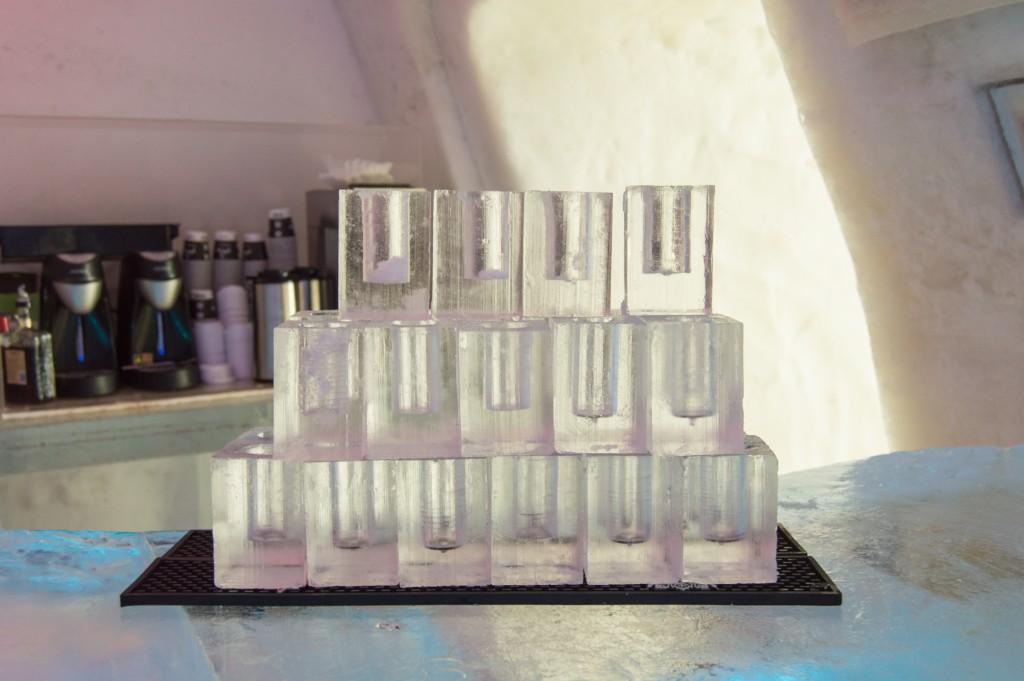 Ice glasses in ice hotel