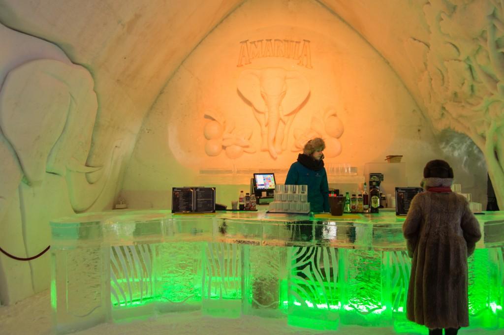 Amarula bar in ice hotel