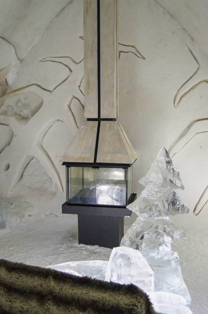 Fireplace in ice hotel Quebec