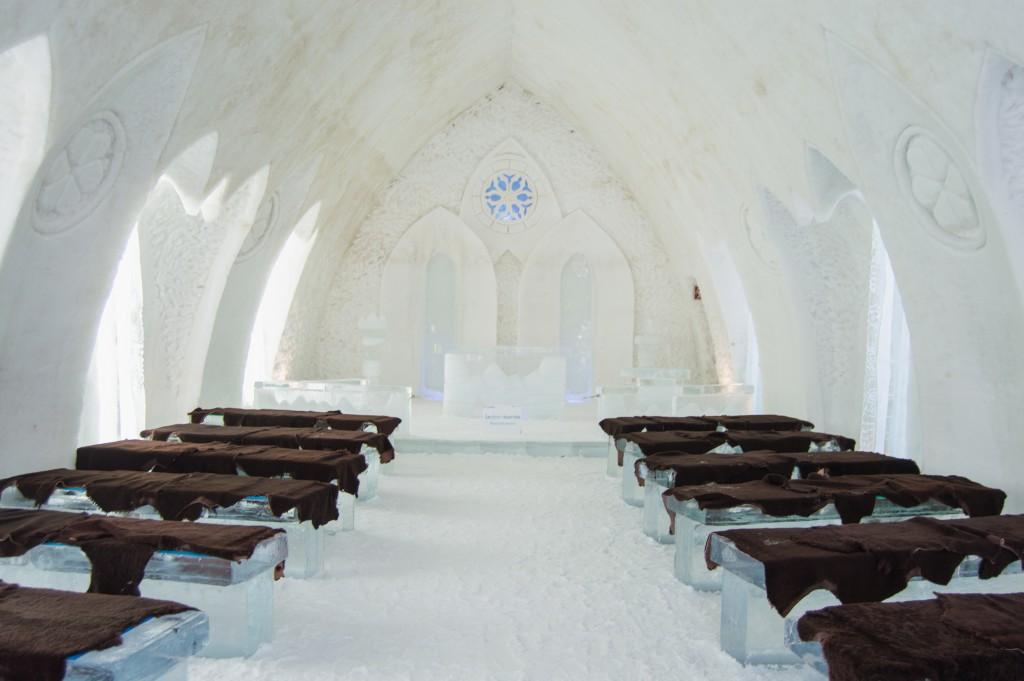 Inside the chapel in Ice hotel