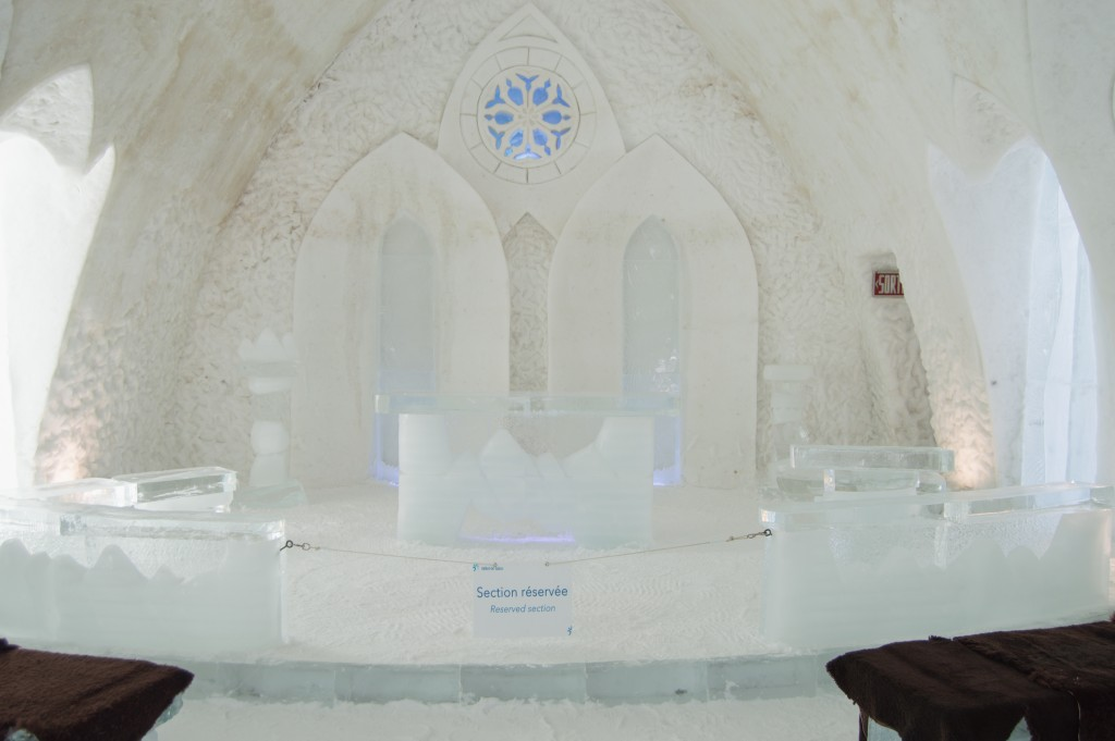 Ice chapel in Hotel de Glace Quebec