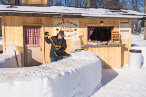 Maple taffy on snow at ice hotel