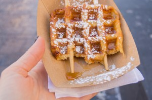 Gaufrabec waffle with maple syrup