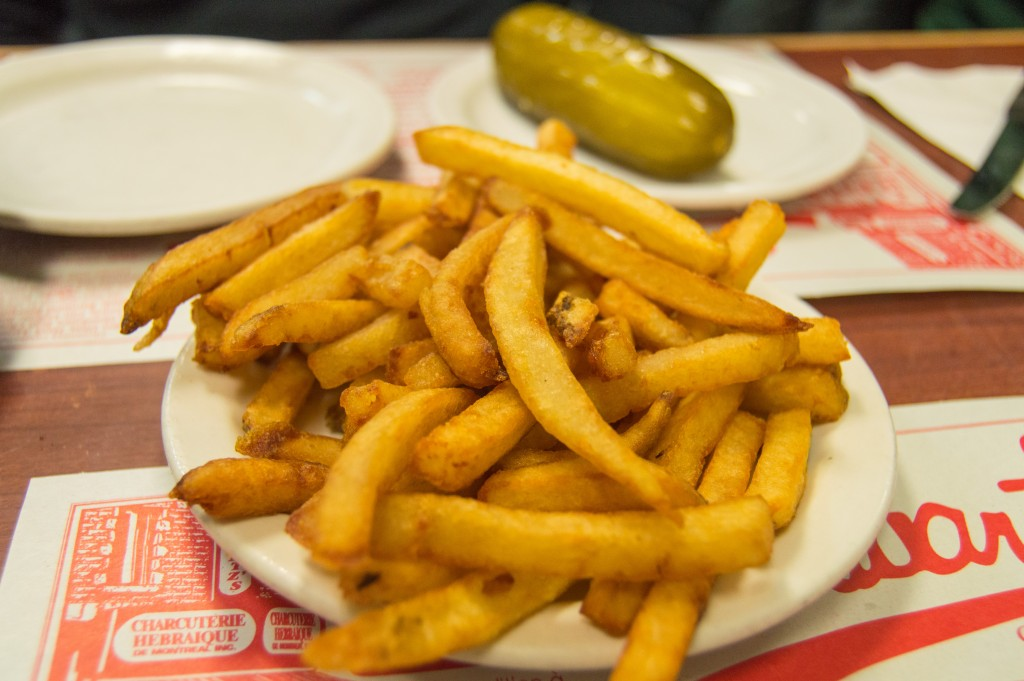 French fries at Schwartz's deli Montreal Canada