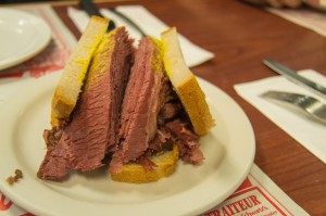 Smoked meat sandwich at Schwartz's deli Montreal Canada
