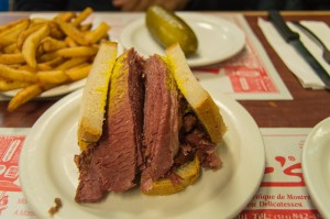 Smoked meat on rye at Schwartz's deli Montreal Canada
