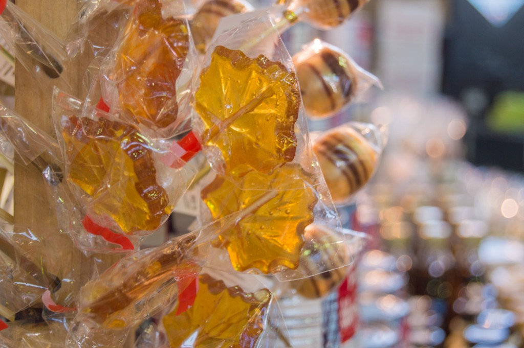 Maple lollipops at Jean Talon Market Montreal