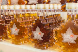 Maple syrup bottles at Jean Talon