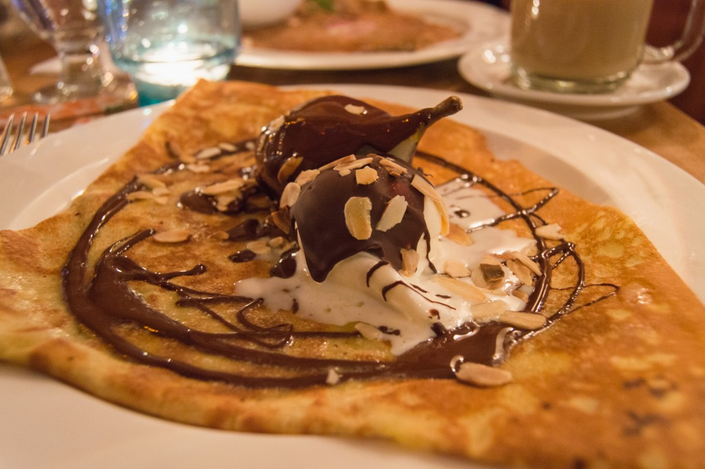 Poached pear crepe at Le Billig Quebec