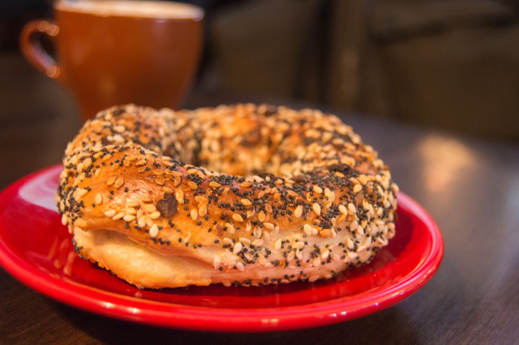 all-dressed bagel at St-Viateur