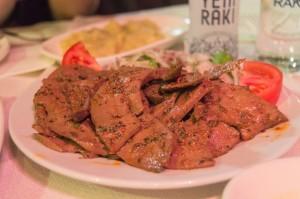 Beef liver Turkish meze