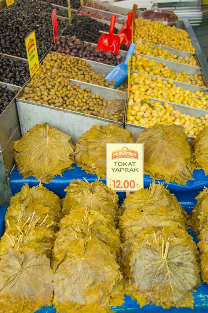 Grape leaves at Istanbul spice market