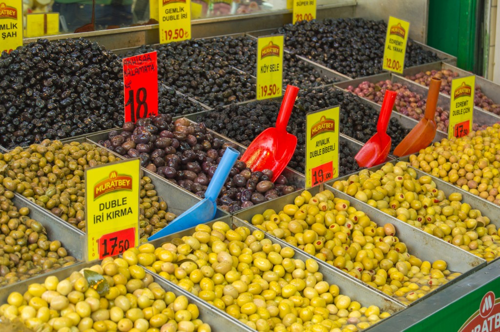 Olives at the spice market Istanbul