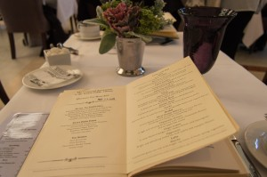 Afternoon tea menu at BPL