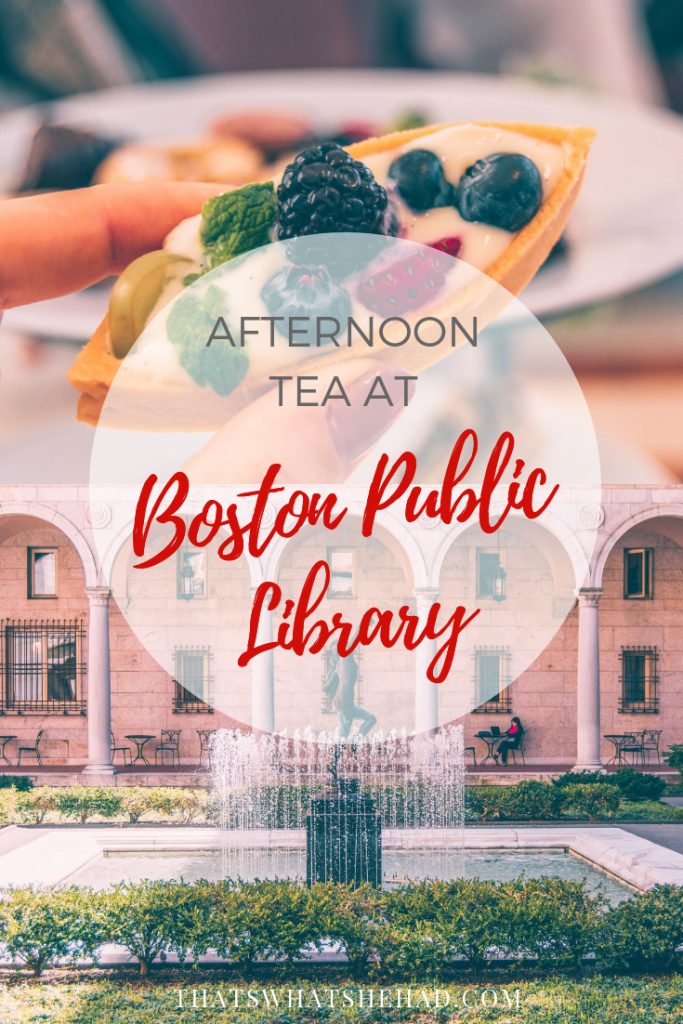 What it's like to have afternoon tea at Boston Public Library? Click on pin to find out! #Boston #highTea #AfternoonTea #BostonPublicLibrary