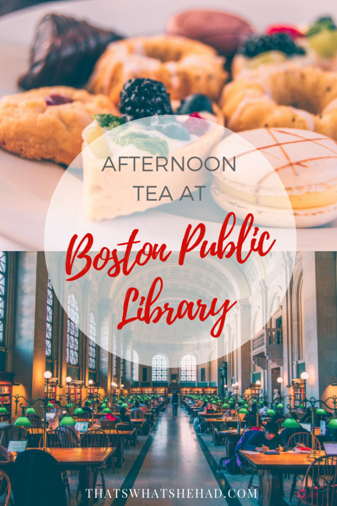High tea at the beautiful Boston public library? Yes, please! Click on pin to read my review of this unforgettable experience or save for later! #Boston #highTea #AfternoonTea #BostonPublicLibrary