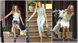 Carrie Bradshaw in front of her NY apartment