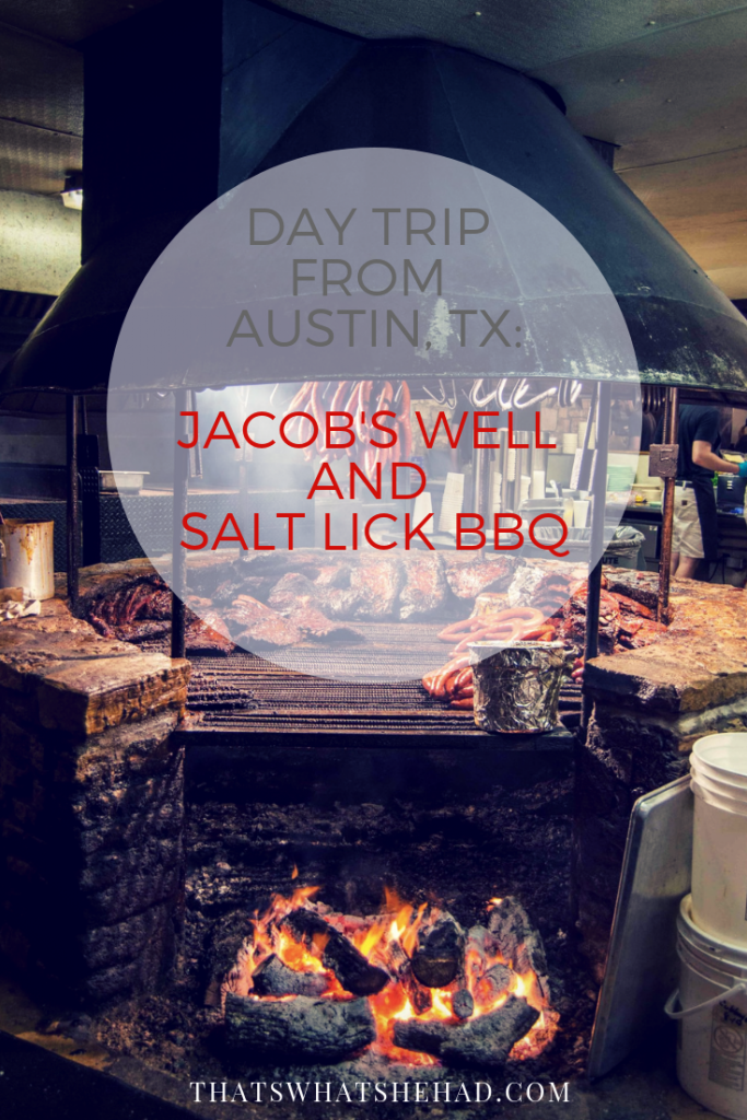 A perfect day trip from Austin, Texas: swim in Jacob's Well (Wimberley, TX) and have dinner at Salt Lick BBQ afterwards! #Texas #Austin #AustinTx #Jacobswell #BBQ