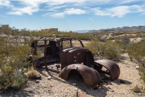 destroyed car at terlingua ghost town