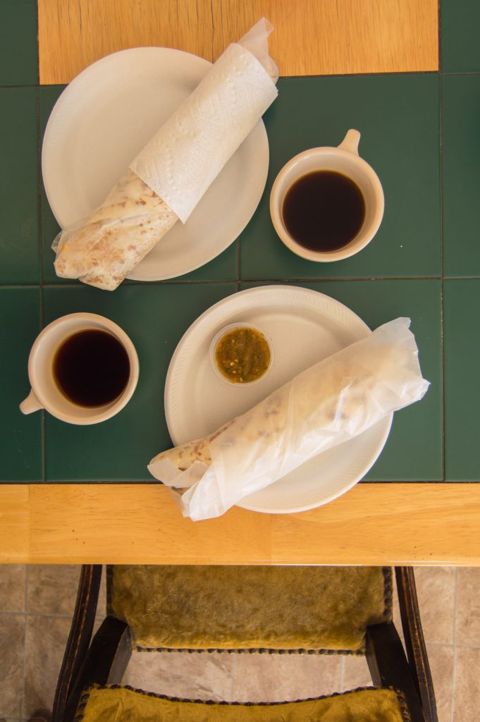 burrito and coffee in marfa