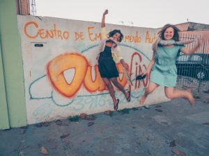 me and Dharshi being our normal selves in the streets of São José dos Campos