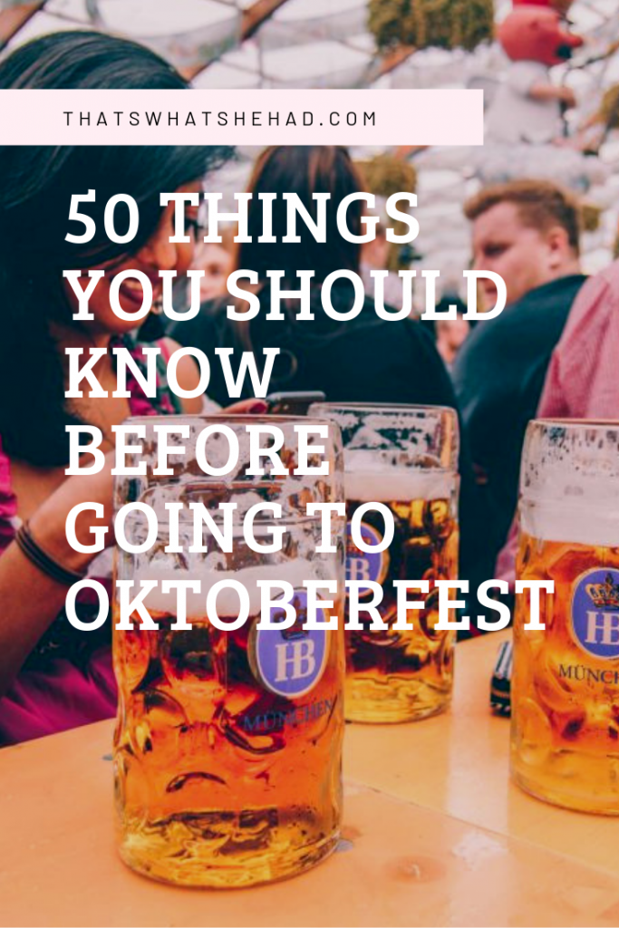 50 important things you should know before your first visit to Oktoberfest in Munich, Germany: what to wear, how much money to take with you, how to choose the right tent, and what to order! Click on pin to read 50 Oktoberfest tips for the first-timers or save for later! #Oktoberfest #Munich #Germany #MunichGermany