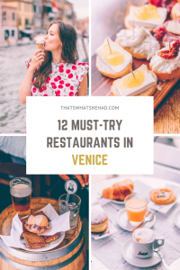 12 restaurants I absolutely loved in Venice and highly recommend you try on your visit! From bakeries and coffee shops to cheap eats and fine-dining experience. Click on pin to learn where to eat in Venice or save for later! #Venice #VeniceItaly #Italy #VeniceFood #VeniceRestaurants