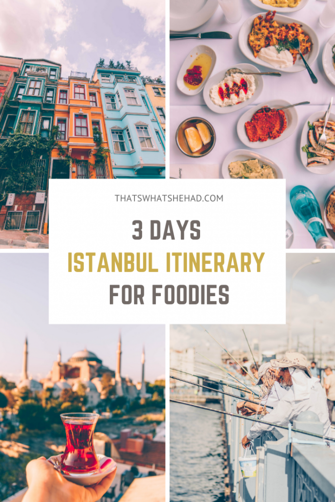 How to spend 3 days in Istanbul if you want to see the best sights and try the most delicious foods! This Istanbul guide is perfect to explore the most popular attractions like Galata Tower and bridge, Blue Mosque, Hagia Sofia, Balat neighborhood, as well as try some of the most famous Turkish foods along the way!  #TurkishFood #TurkishBreakfast #IstanbulGuide #IstanbulTravel #IstanbulFood