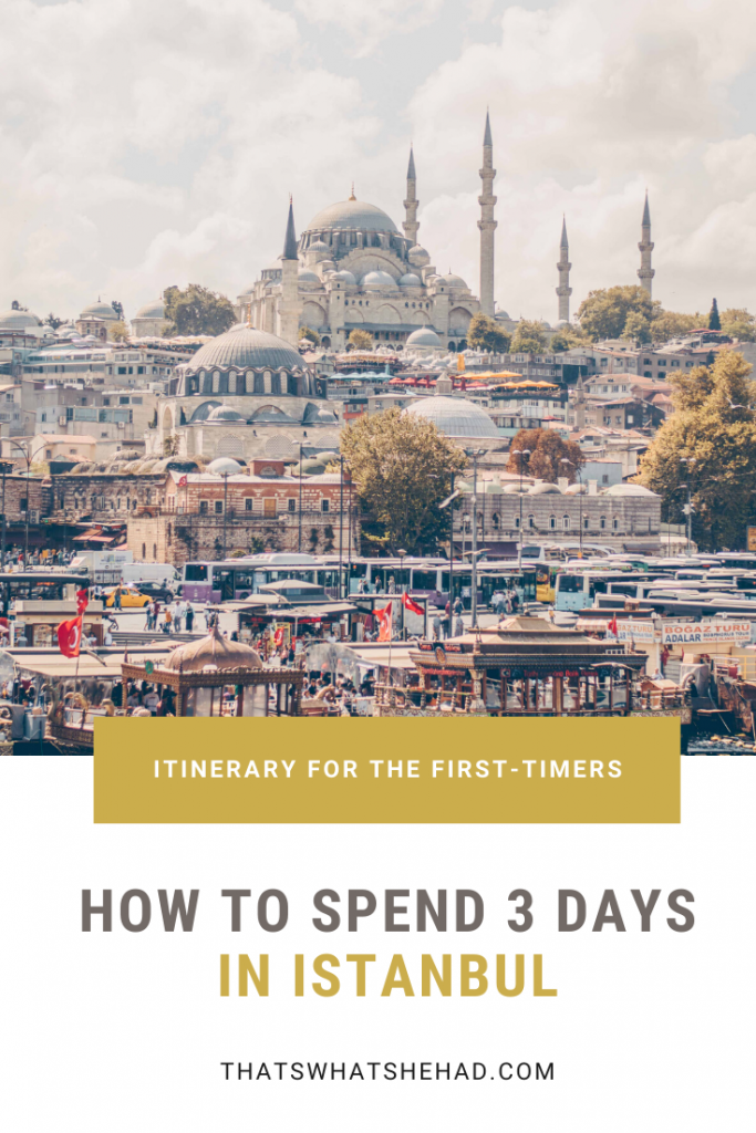 A great itinerary for 3 days in Istanbul (Turkey) for the first-time visitors. Explore Galata neighborhood, the Blue Mosque, Grand Bazaar, Spice Bazaar, the colorful streets of Balat, and so much more. The guide includes some of the best Turkish food along the way! #IstanbulGuide #IstanbulTurkey #IstanbulTravel #ThingsToDoInIstanbul #IstanbulFood