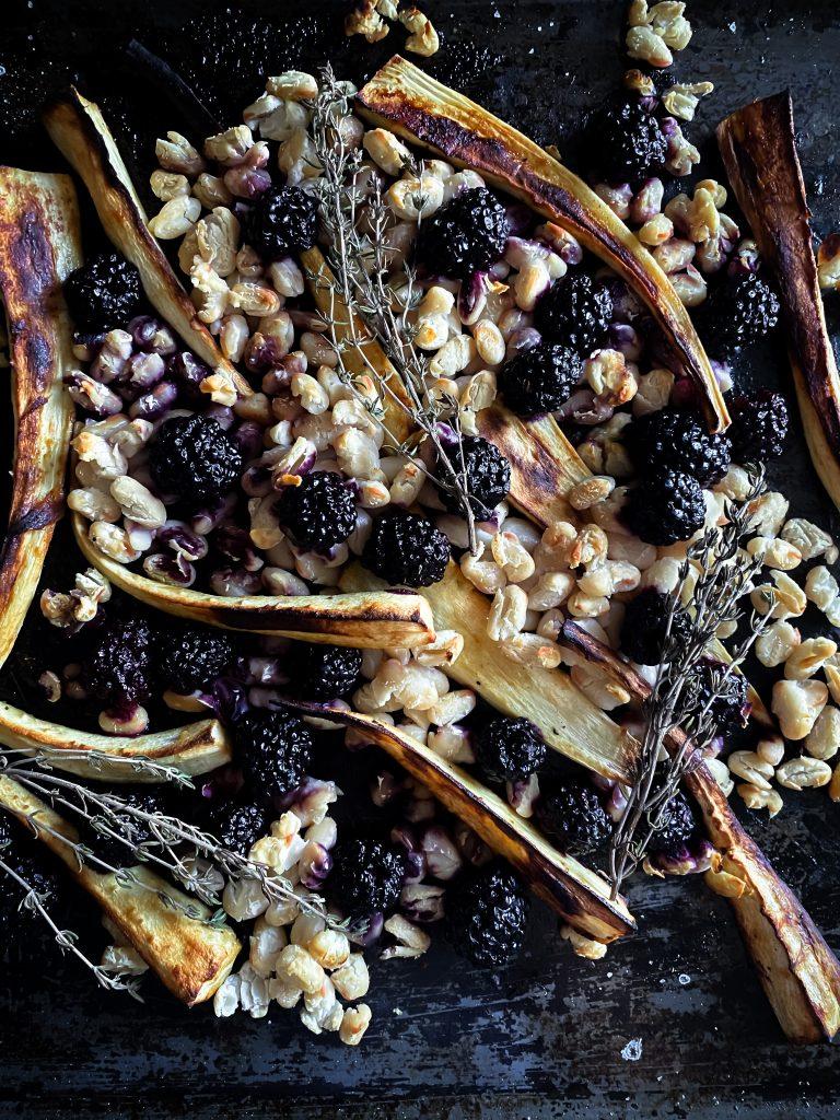 anna-jones-parsnip-blacberry-tray-bake