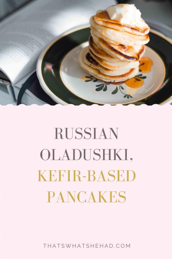 Russian oladushki are mini-pancakes made of kefir-based batter that every babushka (grandma) makes for her kids on Sunday mornings. Learn how to make these delcious classic oladushki! #Russia #RussianFood #RussianCuisine #Breakfast #Pancakes #RussianPancakes #Oladyi