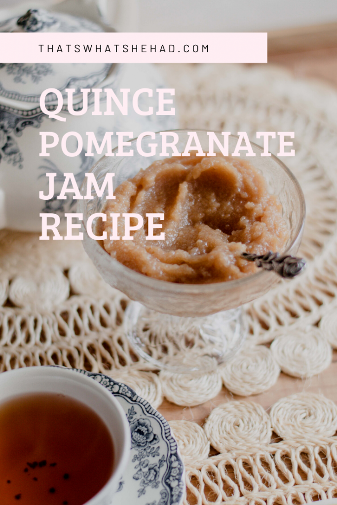 Quince jam prepared with pomegranate juice, thyme and bay leaves for amazing aroma! Click on pin to check the recipe or save for later! #Quince #QuinceJam #QuinceRecipe #Jam #Preserve