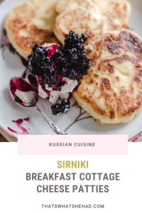 Sirniki are Russian cottage cheese pancakes, although they are a lot less doughy and resemble a warm cheesecake a lot more than they do a pancake. #cottagecheese #sirniki #cottagecheesepancakes #pancakes #cheesepancakes #russianfood #russiancuisine