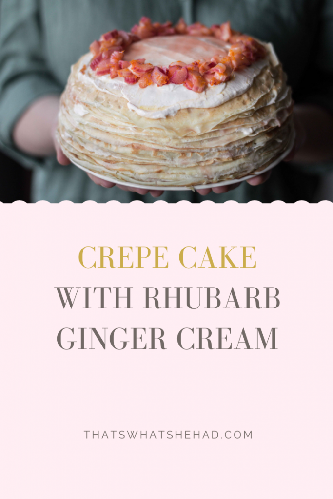 Crepe cake made of 26 thinnest crepes, layered with sour-cream-based cream flavored with ginger and rhubarb. #crepecake #crepes #blini #rhubarb