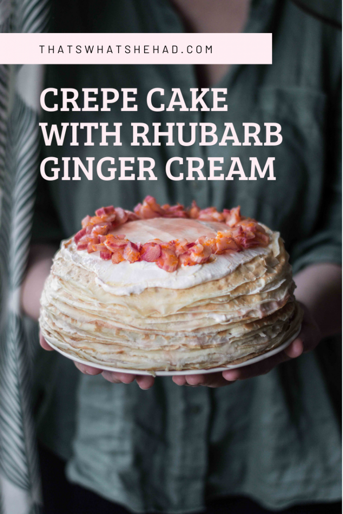 Russian blinniy torte, or crepe cake, made of 26 layers of thin crepes with rhubarb ginger cream in between! #crepecake #blini #russianfood #russiancuisine
