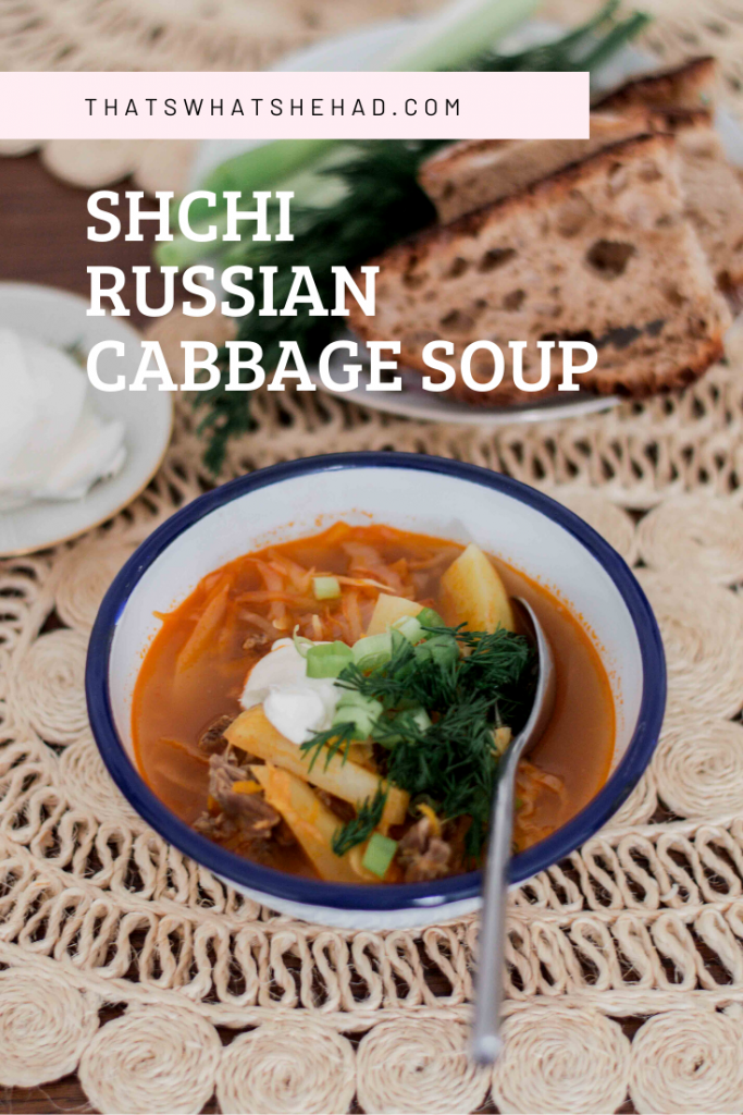 Shchi is a popular soup in Russia, made of fresh cabbage, potatoes and beef. Serve it with sour cream and lots of spring onion, dill and parsley. #soup #cabbage #cabbagesoup #shchi #russianfood