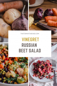An easy vegan Russian salad made of root vegetables and pickled cucumbers. #russianfood #russiancuisine #russiansalad #russianbeetsalad #vinegret #vegetablesalad #rootvegetablesalad