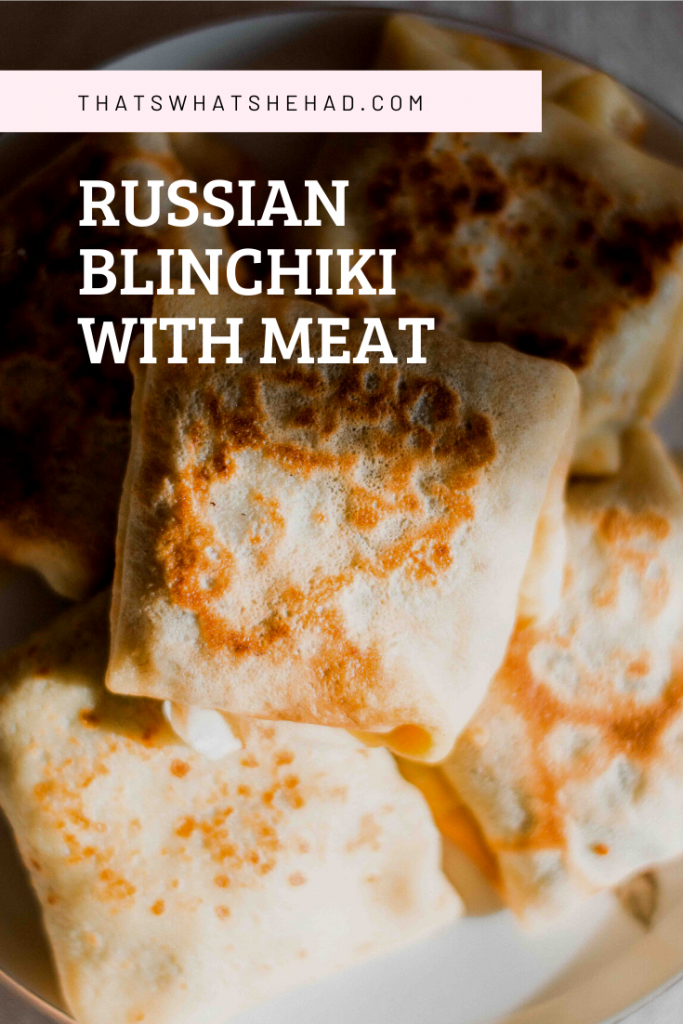 Russian blinchiki with meat are made of the thinnest crepes (or blini as we call them in Russia, stuffed with a mix of beef and pork. Click on pin for the recipe or save for later! #Russia #RussianFood #Blini #Blinchiki