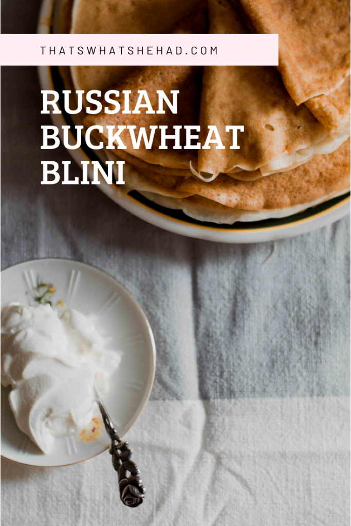 Buckwheat blini on kefir base are an easy breakfast (especially f you have two pans to speed up the process). Click on pin for the recipe or save for later! #RussianFood #Blini #Crepes #Buckwheat