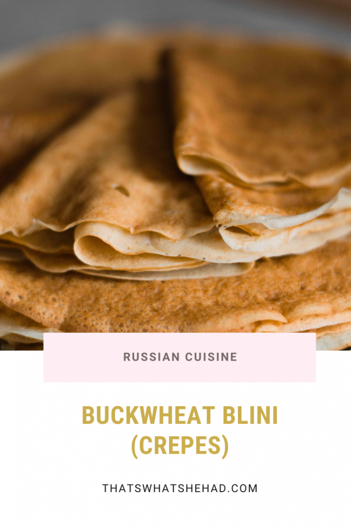 Russian buckwheat blini are neither small nor fluffy, in reality they are thin and large, like crepes. Perfect served with smoked salmon and sour cream. #Russia #RussianFood #Blini #Crepes
