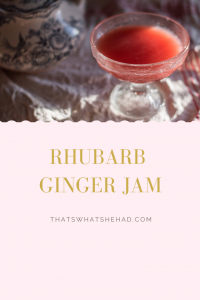 Rhubarb and ginger jam of the most beautiful pink color! Perfect on oats, toast, pancakes or to make a refreshing spritz! #rhubarb #ginger #preserves #jam