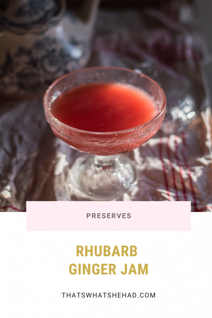 Rhubarb jam spiced with ginger. Easy to make and keeps in the fridge for several weeks. #rhubarb #ginger #jam