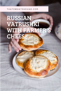 Vatrushki are Russian buns prepared with farmer's cheese. They are best served warm with a cup of hot black tea for breakfast. Clcik on pin for the recipe or save for later! #RussianFood #RussianCuisine #tvorog #farmerscheese