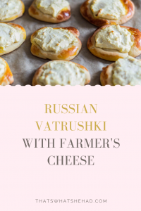 Russian vatrushki are open buns filled with farmer's cheese. They are great for breakfast or to have with tea as a snack. #RussianFood #RussianCuisine #farmerscheese #tvorog