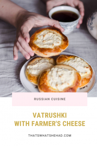 Vatrushki are yeasted buns with Russian-style cottage cheese. They are perfect served straight out of the oven for breakfast or afternoon tea. #RussianFood #RussianCuisine #BreakfastPastry #RussianPastry