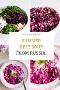 An easy, delicious soup from Russia made of beets and kefir is perfect for hot summer days when you need something refreshing! #Russia #RussianFood #Svekolnik #Holodnik #Beetroot