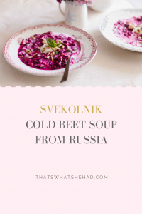 Svekolnik is a popular summer-time soup in Russia prepared with beets and kefir. It is served cold to quench the thirst on hot summer days. #Russia #RussianFood #Soup #ColdSoup #Beet #Beetroot